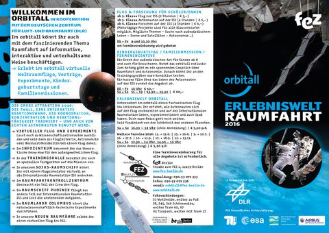 "Programmflyer ""Erlebniswelt Raumfahrt"" 2016 - 2017"